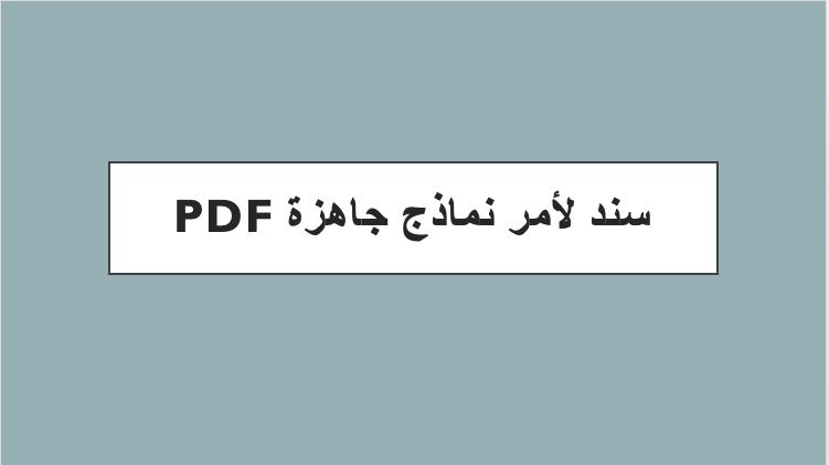 سند لأمر نماذج جاهزة pdf