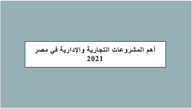 أهم المشروعات التجارية والإدارية في مصر 2021
